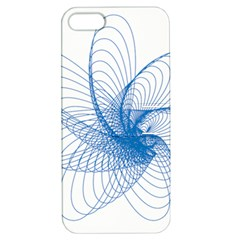 Spirograph Pattern Drawing Design Blue Apple Iphone 5 Hardshell Case With Stand by Nexatart