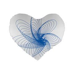 Spirograph Pattern Drawing Design Blue Standard 16  Premium Flano Heart Shape Cushions by Nexatart