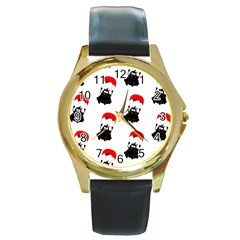 Pattern Sheep Parachute Children Round Gold Metal Watch