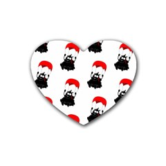 Pattern Sheep Parachute Children Rubber Coaster (heart)  by Nexatart