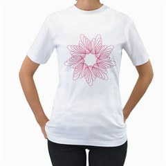 Spirograph Pattern Drawing Design Women s T Shirt (white) (two Sided)