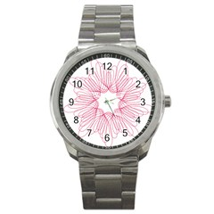 Spirograph Pattern Drawing Design Sport Metal Watch