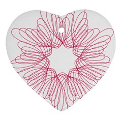 Spirograph Pattern Drawing Design Heart Ornament (two Sides) by Nexatart