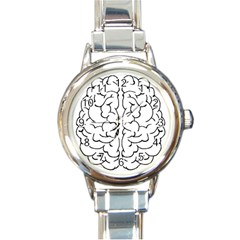 Brain Mind Gray Matter Thought Round Italian Charm Watch by Nexatart