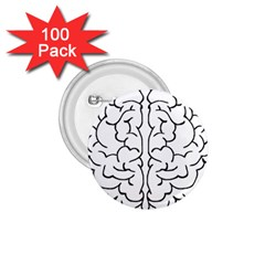 Brain Mind Gray Matter Thought 1 75  Buttons (100 Pack)