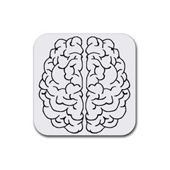 Brain Mind Gray Matter Thought Rubber Square Coaster (4 Pack)  by Nexatart