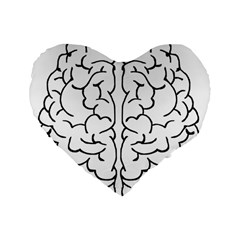 Brain Mind Gray Matter Thought Standard 16  Premium Flano Heart Shape Cushions by Nexatart