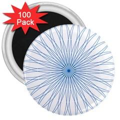 Spirograph Pattern Circle Design 3  Magnets (100 Pack)