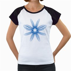 Blue Spirograph Pattern Circle Geometric Women s Cap Sleeve T