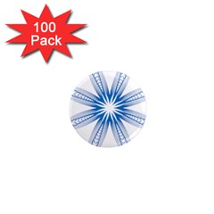 Blue Spirograph Pattern Circle Geometric 1  Mini Magnets (100 Pack)  by Nexatart
