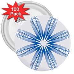 Blue Spirograph Pattern Circle Geometric 3  Buttons (100 Pack)  by Nexatart