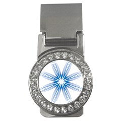 Blue Spirograph Pattern Circle Geometric Money Clips (cz)  by Nexatart
