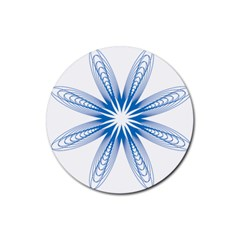 Blue Spirograph Pattern Circle Geometric Rubber Round Coaster (4 Pack)