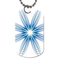 Blue Spirograph Pattern Circle Geometric Dog Tag (two Sides)