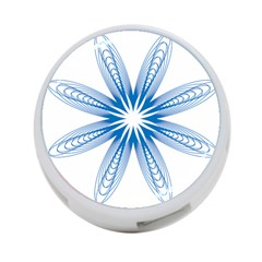 Blue Spirograph Pattern Circle Geometric 4-Port USB Hub (Two Sides)  by Nexatart