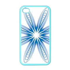 Blue Spirograph Pattern Circle Geometric Apple Iphone 4 Case (color) by Nexatart
