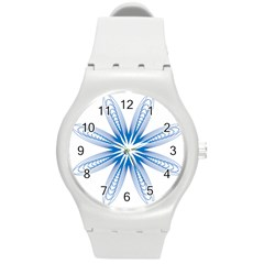 Blue Spirograph Pattern Circle Geometric Round Plastic Sport Watch (m) by Nexatart
