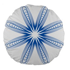 Blue Spirograph Pattern Circle Geometric Large 18  Premium Round Cushions by Nexatart