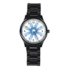 Blue Spirograph Pattern Circle Geometric Stainless Steel Round Watch by Nexatart