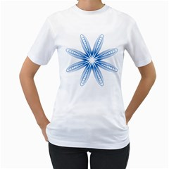 Blue Spirograph Pattern Circle Geometric Women s T Shirt (white)