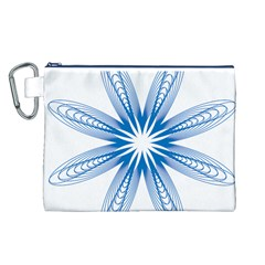 Blue Spirograph Pattern Circle Geometric Canvas Cosmetic Bag (l) by Nexatart