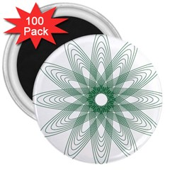 Spirograph Pattern Circle Design 3  Magnets (100 Pack) by Nexatart
