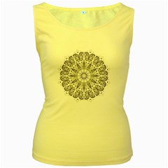 Art Coloring Flower Page Book Women s Yellow Tank Top