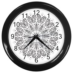 Art Coloring Flower Page Book Wall Clocks (black) by Nexatart