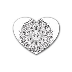 Art Coloring Flower Page Book Rubber Coaster (heart)  by Nexatart