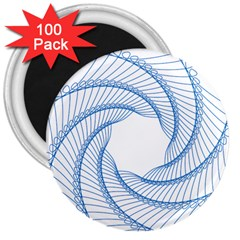 Spirograph Spiral Pattern Geometric 3  Magnets (100 Pack) by Nexatart