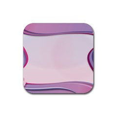 Background Image Greeting Card Heart Rubber Square Coaster (4 Pack)