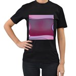 Background Image Greeting Card Heart Women s T-Shirt (Black) (Two Sided)