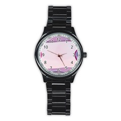 Background Image Greeting Card Heart Stainless Steel Round Watch