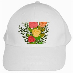 Roses Flowers Floral Flowery White Cap by Nexatart