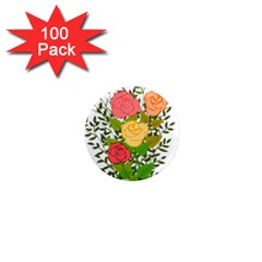 Roses Flowers Floral Flowery 1  Mini Magnets (100 Pack)  by Nexatart