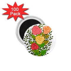 Roses Flowers Floral Flowery 1 75  Magnets (100 Pack)  by Nexatart