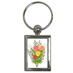 Roses Flowers Floral Flowery Key Chains (rectangle)  by Nexatart