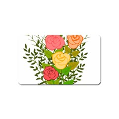 Roses Flowers Floral Flowery Magnet (name Card) by Nexatart