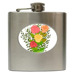 Roses Flowers Floral Flowery Hip Flask (6 Oz)