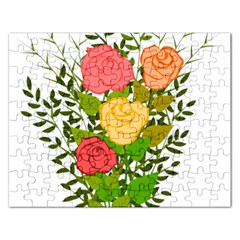 Roses Flowers Floral Flowery Rectangular Jigsaw Puzzl