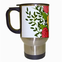Roses Flowers Floral Flowery Travel Mugs (white) by Nexatart