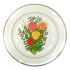 Roses Flowers Floral Flowery Porcelain Plates by Nexatart