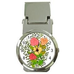 Roses Flowers Floral Flowery Money Clip Watches by Nexatart