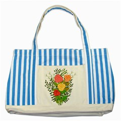 Roses Flowers Floral Flowery Striped Blue Tote Bag by Nexatart