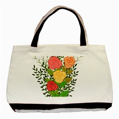 Roses Flowers Floral Flowery Basic Tote Bag (two Sides) by Nexatart