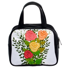 Roses Flowers Floral Flowery Classic Handbags (2 Sides)