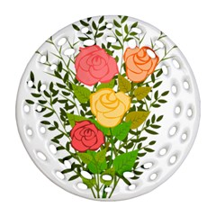 Roses Flowers Floral Flowery Round Filigree Ornament (two Sides) by Nexatart