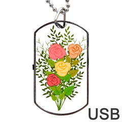 Roses Flowers Floral Flowery Dog Tag Usb Flash (two Sides)