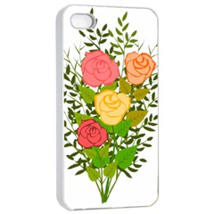 Roses Flowers Floral Flowery Apple Iphone 4/4s Seamless Case (white) by Nexatart