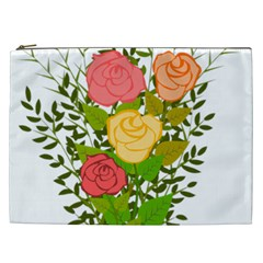 Roses Flowers Floral Flowery Cosmetic Bag (xxl)  by Nexatart